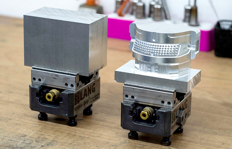 Aluminium block before and after CNC milling